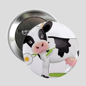 "Flower Power Cow 2.25"" Button"