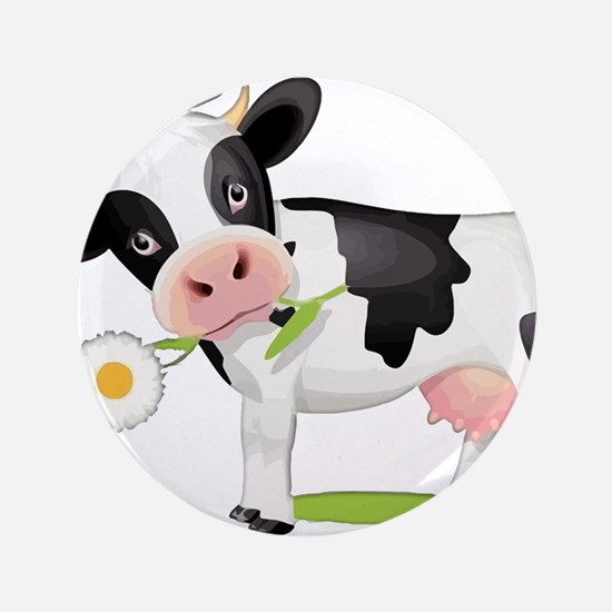 """Flower Power Cow 3.5"""" Button (100 pack)"""