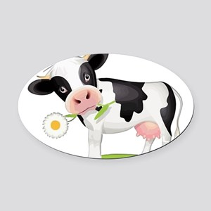 Flower Power Cow Oval Car Magnet