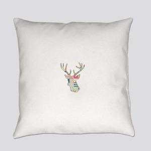 Floral Girly Stag Deer Head Everyday Pillow