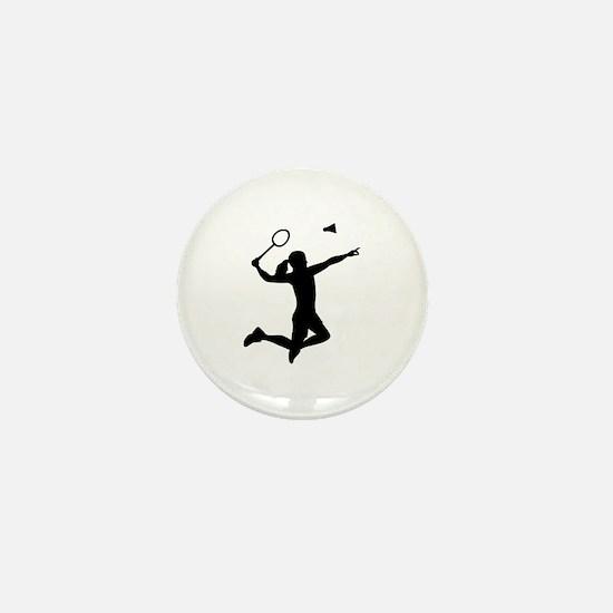 Badminton woman girl Mini Button