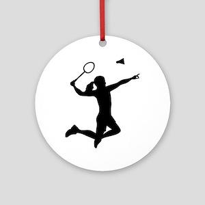 Badminton woman girl Round Ornament