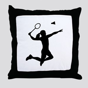 Badminton woman girl Throw Pillow