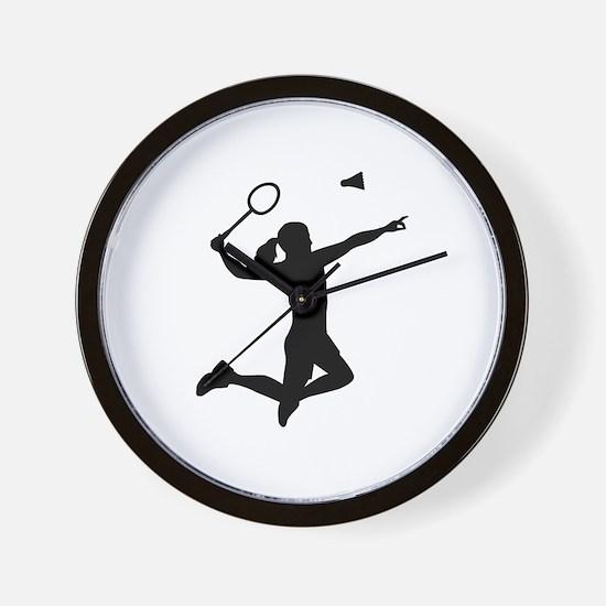 Badminton woman girl Wall Clock