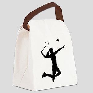 Badminton woman girl Canvas Lunch Bag