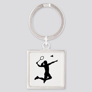 Badminton woman girl Square Keychain