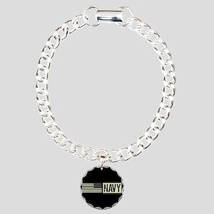 U.S. Navy: Navy (Black F Charm Bracelet, One Charm