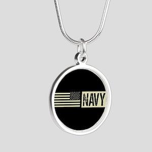 U.S. Navy: Navy (Black Flag) Silver Round Necklace