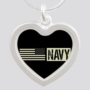 U.S. Navy: Navy (Black Flag) Silver Heart Necklace