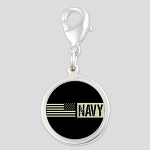 U.S. Navy: Navy (Black Flag) Silver Round Charm