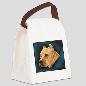Pitbull Art Portrait Canvas Lunch Bag