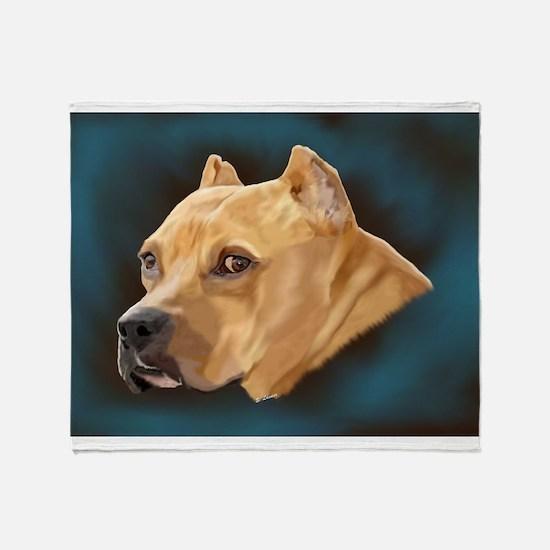 Pitbull Art Portrait Throw Blanket