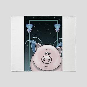 Piggy Portrait 1 Throw Blanket