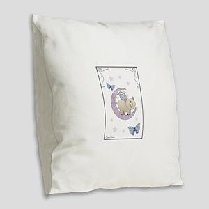 Piggy on the moon II Burlap Throw Pillow