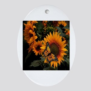 Sunflower Radiance Monarch Butterfly Oval Ornament