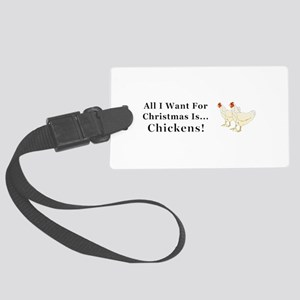 Christmas Chickens Large Luggage Tag