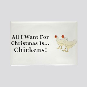 Christmas Chickens Rectangle Magnet