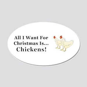 Christmas Chickens 20x12 Oval Wall Decal