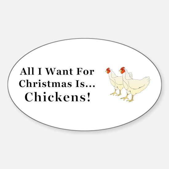 Christmas Chickens Sticker (Oval)
