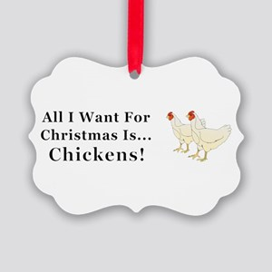 Christmas Chickens Picture Ornament