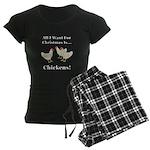 Christmas Chickens Women's Dark Pajamas