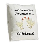 Christmas Chickens Burlap Throw Pillow