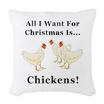 Christmas Chickens Woven Throw Pillow