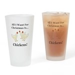 Christmas Chickens Drinking Glass