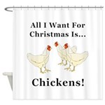 Christmas Chickens Shower Curtain