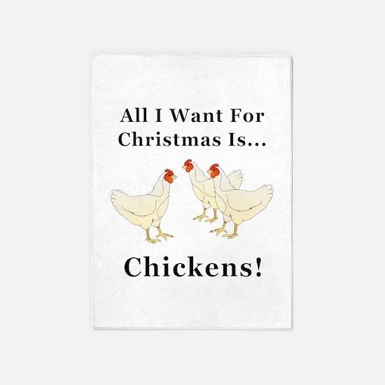 Christmas Chickens 5'x7'Area Rug