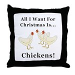 Christmas Chickens Throw Pillow