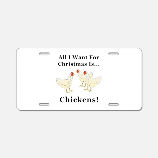 Christmas Chickens Aluminum License Plate