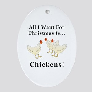 Christmas Chickens Oval Ornament