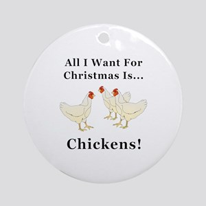 Christmas Chickens Round Ornament