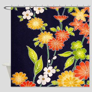 Japanese Daisy Floral Kimono Shower Curtain