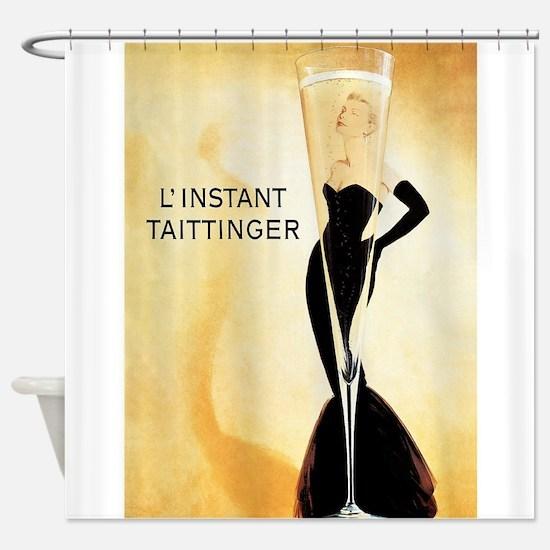 Vintage Champagne Advertisement Pos Shower Curtain