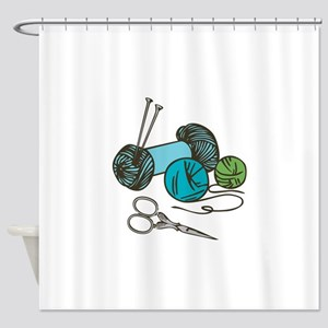 Knitting Needles Shower Curtain