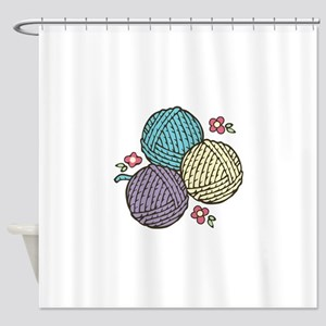 3 Yarn Balls Shower Curtain