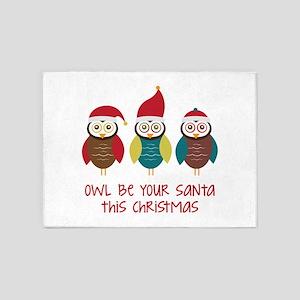 Owl Be Santa 5'x7'Area Rug