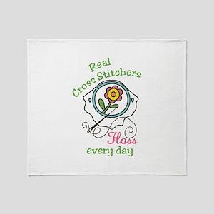 Cross Stitcher Throw Blanket