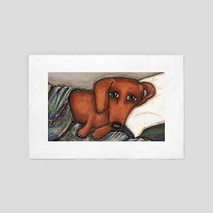 Dachshund on the pillow 4' x 6' Rug