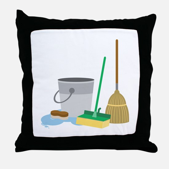 Cleaning Supplies Throw Pillow