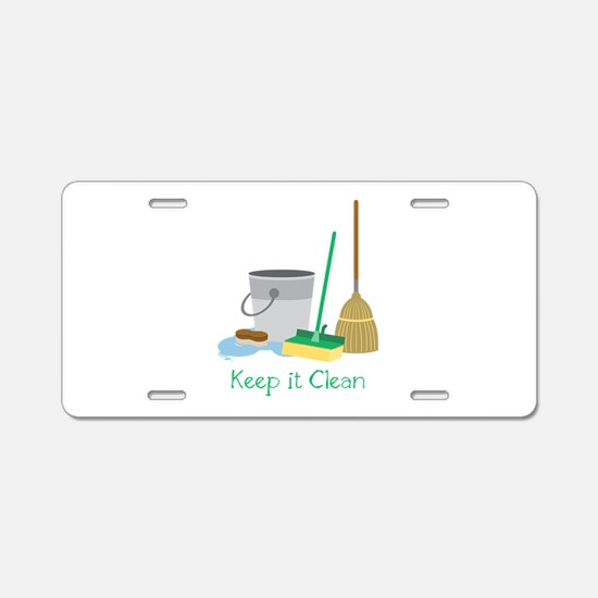 Keep it Clean Aluminum License Plate