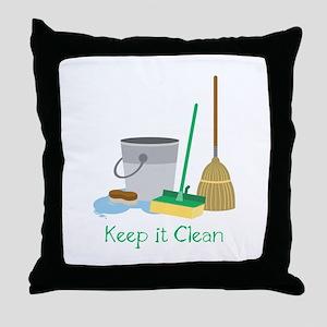 Keep it Clean Throw Pillow
