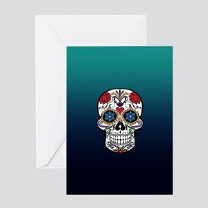 Colorful Floral Sugar Skull Greeting Cards