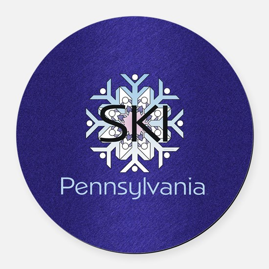 Ski Pennsylvania Round Car Magnet