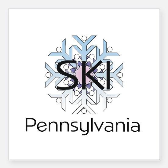 """Ski Pennsylvania Square Car Magnet 3"""" X 3&quo"""