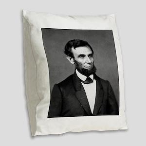 President Abraham Lincoln Burlap Throw Pillow