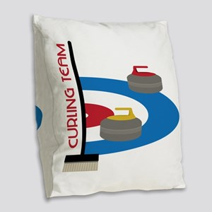 Curling Team Burlap Throw Pillow