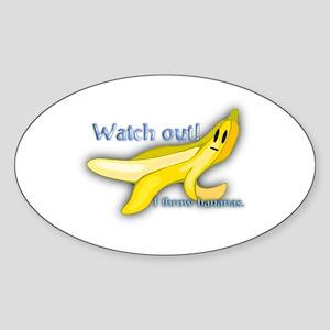 I Throw Bananas Oval Sticker